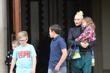 Zuma Rossdale Gwen Stefani and Her Kids Go to Church in LA