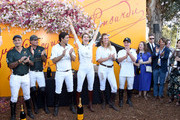(L-R) Nacho Figueras and Delfina Blaquier celebrate at the 10th Annual Veuve Clicquot Polo Classic Los Angeles at Will Rogers State Historic Park on October 05, 2019 in Pacific Palisades, California.