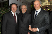 AFI President Bob Gazzale and Producer/ Directors Steven Spielberg and Clint Eastwood arrive at the 12th Annual AFI Awards held at the Four Seasons Hotel Los Angeles at Beverly Hills on January 13, 2012 in Beverly Hills, California.