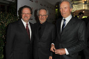 (L to R) AFI President Bob Gazzale and Prodcuer / Directors Steven Spielberg and Clint Eastwood arrive at at the 12th Annual AFI Awards held at the Four Seasons Hotel Los Angeles at Beverly Hills on January 13, 2012 in Beverly Hills, California.
