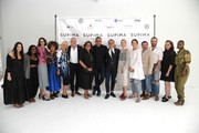 Fern Mallis, Bibhu Mohapatra, Supima's Buxton Midyette and host Blair Eadie and guests pose for a photo as they attend the 12th Annual Supima Design Competition at Pier 59 Studios on September 05, 2019 in New York City.