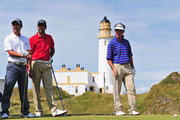 (L-R)  Rafa Echenique of Argentina, Alvaro Quiros of Spain and Gonzalo Fernandez-Castano of Spain wait to tee off during a practice round prior to the 138th Open Championship on the Ailsa Course, Turnberry Golf Club on July 15, 2009 in Turnberry, Scotland.