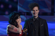Singer Carla Morrison (L) accepts the award for Best Alternative Music Album onstage during the 13th annual Latin GRAMMY Awards held at the Mandalay Bay Events Center on November 15, 2012 in Las Vegas, Nevada.