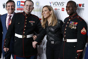 NEW YORK, NEW YORK - NOVEMBER 04 Dave Woodruff, retired Corporal USMC, Steven Schulz, Sheryl Crow  and retired Corporal USMC, Kionte Storey attend 13th Annual Stand Up For Heroes at The Hulu Theater at Madison Square Garden on November 04, 2019 in New York City.