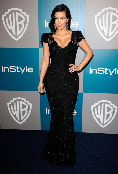TV Personality Kim Kardashian arrives at 13th Annual Warner Bros. And InStyle Golden Globe Awards After Party at The Beverly Hilton hotel on January 15, 2012 in Beverly Hills, California.