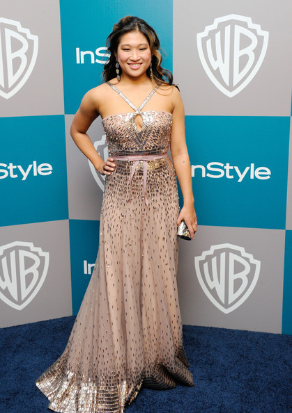 Actress Jenna Ushkowitz arrives at 13th Annual Warner Bros. And InStyle Golden Globe Awards After Party at The Beverly Hilton hotel on January 15, 2012 in Beverly Hills, California.