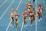 Jennifer Barringer Simpson (2nd L) of United States approaches the finish line to claim gold ahead of (L-R) Hannah England of Great Britain, Natalia Rodriguez of Spain, Btissam Lakhouad of Morocco, Kalkidan Gezahegne of Ethiopia, Ingvill Makestad Bovim of Norway and Mimi Belete of Bahrain during the women's 1500 metres final during day six of the 13th IAAF World Athletics Championships at the Daegu Stadium on September 1, 2011 in Daegu, South Korea.
