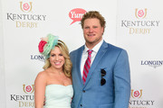 Leslie Wood (L) and football center Eric Wood attend the 142nd Kentucky Derby at Churchill Downs on May 07, 2016 in Louisville, Kentucky.