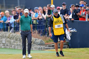Justin Rose of England acknowledges the crowd walking up the 18th hole during the third round of the 147th Open Championship at Carnoustie Golf Club on July 21, 2018 in Carnoustie, Scotland.