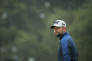 Ryan Moore of the United States waits in the rain during the second round of the 147th Open Championship at Carnoustie Golf Club on July 20, 2018 in Carnoustie, Scotland.