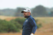 Ryan Moore of the United States reacts to his second shot on the first hole during the second round of the 147th Open Championship at Carnoustie Golf Club on July 20, 2018 in Carnoustie, Scotland.