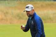 Ryan Moore of the United States acknowledges the crowd on the sixth hole during the second round of the 147th Open Championship at Carnoustie Golf Club on July 20, 2018 in Carnoustie, Scotland.