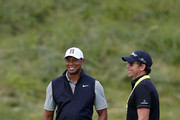 Tiger Woods of the United States and putting coach Matt Killen talk during a practice round prior to the 148th Open Championship held on the Dunluce Links at Royal Portrush Golf Club on July 16, 2019 in Portrush, United Kingdom.