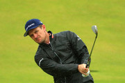 Justin Rose of England plays a shot on the 11th hole during a practice round prior to the 148th Open Championship held on the Dunluce Links at Royal Portrush Golf Club on July 17, 2019 in Portrush, United Kingdom.