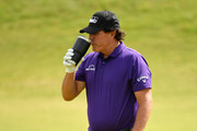Phil Mickelson of The United States of America looks on during a practice round prior to the 148th Open Championship held on the Dunluce Links at Royal Portrush Golf Club on July 16, 2019 in Portrush, United Kingdom.
