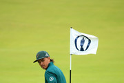 Rickie Fowler of the United States plays a putt on the 18th green during a practice round prior to the 148th Open Championship held on the Dunluce Links at Royal Portrush Golf Club on July 17, 2019 in Portrush, United Kingdom.