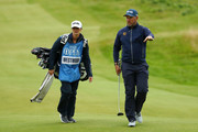 Lee Westwood of England (R) walks down the fairway with his caddie and girlfriend, Helen Storey during a practice round prior to the 148th Open Championship held on the Dunluce Links at Royal Portrush Golf Club on July 17, 2019 in Portrush, United Kingdom.