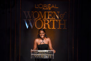 Aja Naomi King speaks onstage during the 14th Annual L'Oreal Paris Women Of Worth Awards at The Pierre on December 04, 2019 in New York City.
