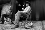 This image was taken with a GoPro and converted to black and white.) Country Music Hall of Fame and Museum historian Michael McCall interviews Billy Joe Shaver during the Billy Joe Shaver Songwriter Session at the Country Music Hall of Fame and Museum during the Americana Music Festival & Conference on September 20, 2014 in Nashville, Tennessee.