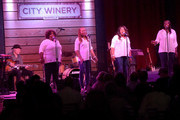 Recording Artists McCrary Sisters, AnnMcCrary, Deborah McCrary, Alfreda McCrary, Regina McCrary are joined by Singer/Songwriter Buddy Miller at Thirty Tigers Gospel Brunch during the 15th Annual Americana Music Festival & Conference - Day 5 at City Winery on September 21, 2014 in Nashville, Tennessee.