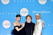 (L-R) Sofia Carson, Caryl M. Stern, and Halima Aden at the 15th Annual UNICEF Snowflake Ball 2019 at 60 Wall Street Atrium on December 03, 2019 in New York City.