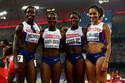 Desiree Henry of Great Britain, Dina Asher-Smith of Great Britain, Asha Philip of Great Britain and Jodie Williams of Great Britain pose after the Women's 4x100 Metres Relay final during day eight of the 15th IAAF World Athletics Championships Beijing 2015 at Beijing National Stadium on August 29, 2015 in Beijing, China.