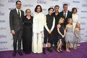 L-R) Artist Eric White, actor Patricia Arquette, Honoree Rosetta Getty, June Getty, Honoree Balthazar Getty, Violet Getty, Actor Eric Dane, Billie Beatrice Dane, Chrysalis Butterfly Ball Co-chair Rebecca Gayheart-Dane and Georgia Dane attends the 16th Annual Chrysalis Butterfly Ball at Private Residence on June 3, 2017 in Brentwood, California.