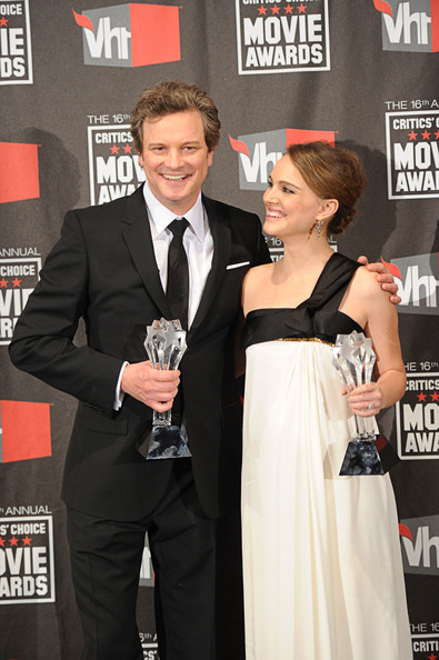 "Actor Colin Firth poses with the Best Actor award for ""The King's Speech"" and actress Natalie Portman poses with the Best Actress award for ""Black Swan"" in the press room during the 16th annual Critics' Choice Movie Awards at the Hollywood Palladium on January 14, 2011 in Los Angeles, California."