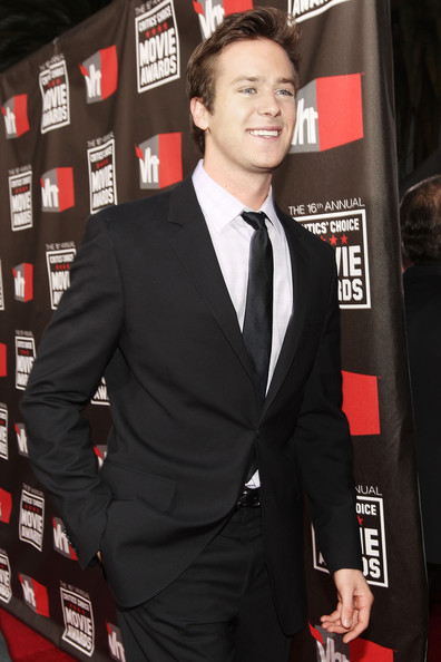 Actor Armie Hammer arrives at the 16th annual Critics' Choice Movie Awards at the Hollywood Palladium on January 14, 2011 in Los Angeles, California.