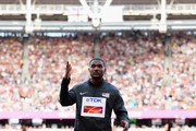 Justin Gatlin of the United States prepares to receive the gold medal for the Men's 100 metres during day three of the 16th IAAF World Athletics Championships London 2017 at The London Stadium on August 6, 2017 in London, United Kingdom.