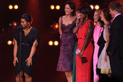 "(L-R) Actors Octavia Spencer, Allison Janney, Emma Stone, Viola Davis, Jessica Chastain, Cicely Tyson, Ahna O'Reilly, and Chris Lowell accept the Best Acting Ensemble award for ""The Help"" onstage during the 17th Annual Critics' Choice Movie Awards held at The Hollywood Palladium on January 12, 2012 in Los Angeles, California."