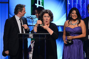 (L-R) Actors Chris Cooper, Margo Martindale and Misty Upham accept the Hollywood Ensemble Cast Award for 'August: Osage County,' as director John Wells and presenter Garry Marshall look on, onstage during the 17th annual Hollywood Film Awards at The Beverly Hilton Hotel on October 21, 2013 in Beverly Hills, California.