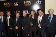 (L-R) Actors Channing Tatum, Walton Goggins, Tim Roth, Kurt Russell, James Parks, Michael Madsen and Bruce Dern pose with the Hollywood Ensemble Award for 'The Hateful Eight' during the 19th Annual Hollywood Film Awards at The Beverly Hilton Hotel on November 1, 2015 in Beverly Hills, California.