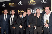 (L-R) Actors Channing Tatum, Walton Goggins, Tim Roth, Kurt Russell, James Parks and Michael Madsen pose in the press room during the 19th Annual Hollywood Film Awards at The Beverly Hilton Hotel on November 1, 2015 in Beverly Hills, California.