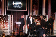 """(L-R) Honorees Kurt Russell, Michael Madsen, Walton Goggins, Bruce Dern, Channing Tatum (below), James Parks, and Tim Roth accept the Hollywood Ensemble Award for """"The Hateful Eight"""" onstage and actor Jamie Foxx looks on during the 19th Annual Hollywood Film Awards at The Beverly Hilton Hotel on November 1, 2015 in Beverly Hills, California."""