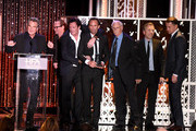 """(L-R) Honorees Kurt Russell, James Parks, Michael Madsen, Walton Goggins, Bruce Dern, Tim Roth and Channing Tatum accept the Hollywood Ensemble Award for """"The Hateful Eight"""" onstage during the 19th Annual Hollywood Film Awards at The Beverly Hilton Hotel on November 1, 2015 in Beverly Hills, California."""