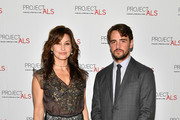 Gina Gershon (L) and Vincent Piazza attend the 19th Annual Project ALS Benefit Gala at Cipriani 42nd Street on October 25, 2017 in New York City.