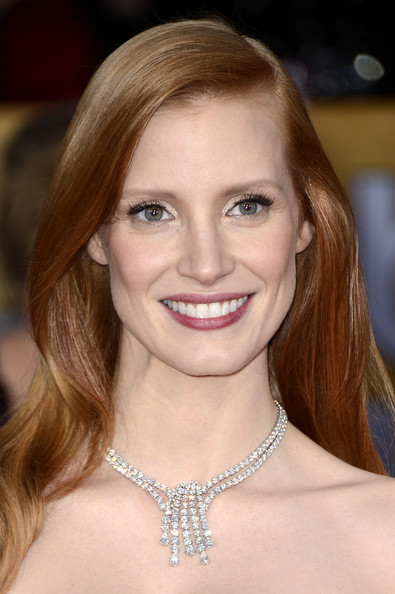Actress Jessica Chastain arrives at the 19th Annual Screen Actors Guild Awards held at The Shrine Auditorium on January 27, 2013 in Los Angeles, California.