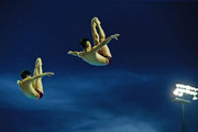 Yu Okamoto and Ken Terauchi of Japan compete on in the Men's 3m Springboard Final during day three of the 19th FINA Diving World Cup at the Oriental Sports Center on July 17, 2014 in Shanghai, China.