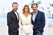 """(L-R) Alexandre Brasseur, Ingrid Chauvin from the serie """"Demain nous appartient"""" and Thierry Peythieu attend a photocall during the 1st Cannes International Series Festival on April 9, 2018 in Cannes, France."""