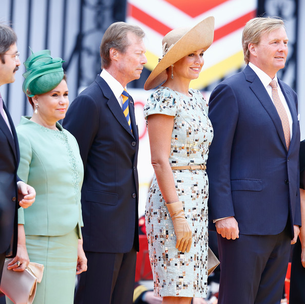 (L-R) Grand Duchess Maria-Teresa with Grand Duke Henri of Luxembourg and Queen Maxima with King Willem-Alexander of The Netherlands attend a ceremony to celebrate the 200 Years of the Kingdom of The Netherlands on August 30, 2014 in Maastricht, Netherlands.