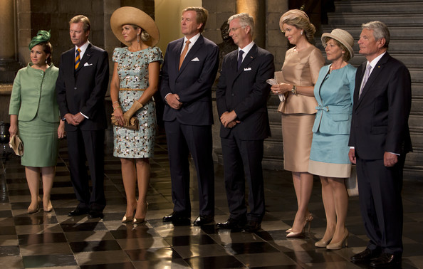 (L-R) Grand Duchess Maria Teresa of Luxembourg, Grand Duke Henri of Luxembourg, Queen Maxima of The Netherlands, King Willem-Alexander of The Netherlands, King Philippe of Belgium, Queen Mathilde of Belgium, Daniela Schadt and Federal President of Germany Joachim Gauck attend celebrations marking the 200th anniversary of the kingdom of The Netherlands on August 30, 2014 in Maastricht, The Netherlands.