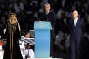 IOC President Jacques Rogge (C) and IOC Executive Board Member Mario Pescante (R) attend the 2009 Mediterranean Games opening ceremony on June 26, 2009 in Pescara, Italy.