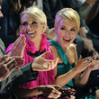 She claps with Hayden Panettiere.