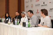 """(L-R) Interpreter Reem Owais, producer Cyril Deleye, director Abdulla Al Kaabi, actor Jean Reno and actor Cyrille Thouvenin attend """"The Philosopher"""" press conference during day six of the 7th Annual Dubai International Film Festival held at the Madinat Jumeriah Complex on December 17, 2010 in Dubai, United Arab Emirates."""
