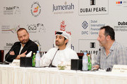 """Producer Cyril Deleye, director Abdulla Al Kaabi and actor Jean Reno attend """"The Philosopher"""" press conference during day six of the 7th Annual Dubai International Film Festival held at the Madinat Jumeriah Complex on December 17, 2010 in Dubai, United Arab Emirates."""