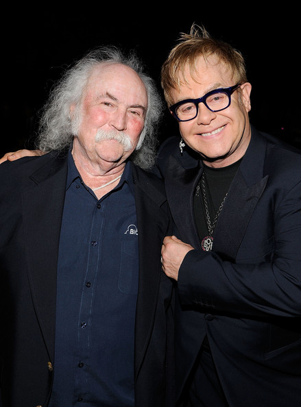 Musicians David Crosby and Elton John attend the  2010 MusiCares Person Of The Year Tribute To Neil Young at the Los  Angeles Convention Center on January 29, 2010 in Los Angeles,  California