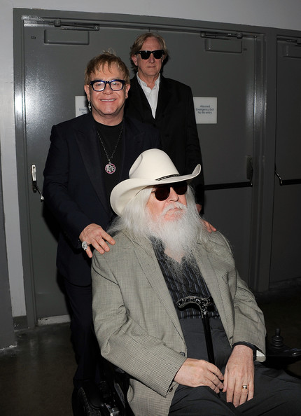 Musicians Elton John, T-Bone Burnett and Leon  Russell attend the 2010 MusiCares Person Of The Year Tribute To Neil  Young at the Los Angeles Convention Center on January 29, 2010 in Los  Angeles, California