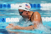 Rebecca Soni swims in the women's 100 meter breaststroke preliminary heat during the Mutual of Omaha Pan Pacific Championships at the William Woollett Jr. Aquatic Center on August 19, 2010 in Irvine, California.