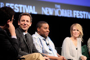 (L-R) David Remnick, Seth Meyers, Kenan Thompson, and Kristen Wiig speak during the 2010 New Yorker Festival at Acura at SIR Stage37 on October 3, 2010 in New York City.